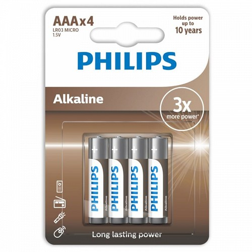 PHILIPS ALKALINE BATTERY AAA LR03 4 PACK